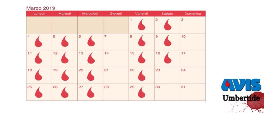 Calendario donazioni Marzo 2019