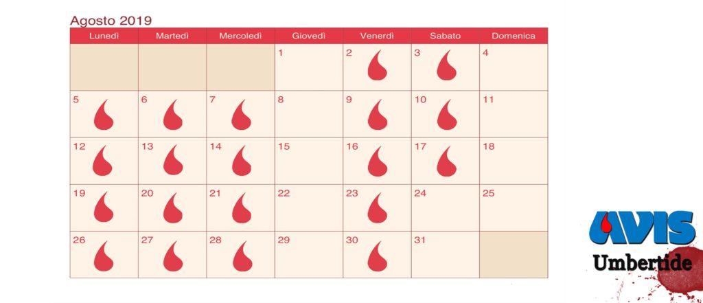 Agosto Calendario.Calendario Donazione Agosto 2019 Avis Comunale Umbertide